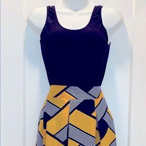 Geo Print Boxy Pleat Midi Skirt